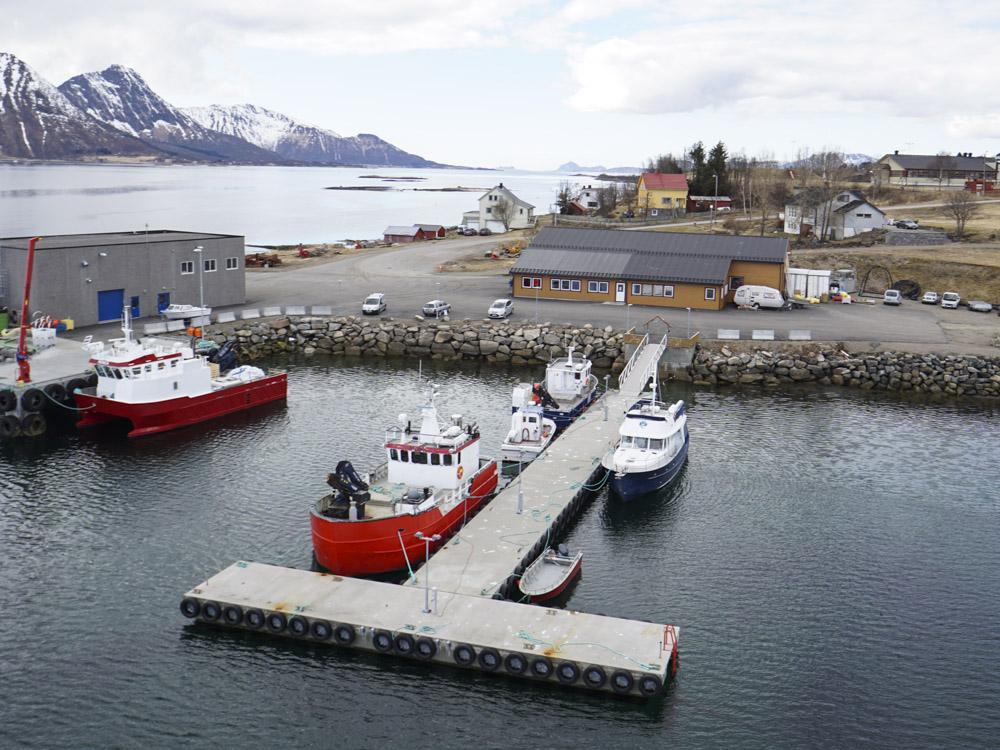 Helgelandsbrygge bryggepir for oppdrettsbåter hos Nordlaks